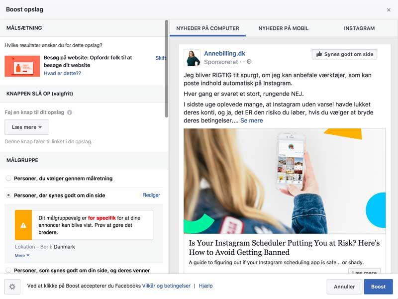 Facebook boost til fans