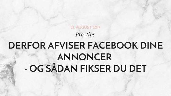 Facebook anonce afvist saadan fikser