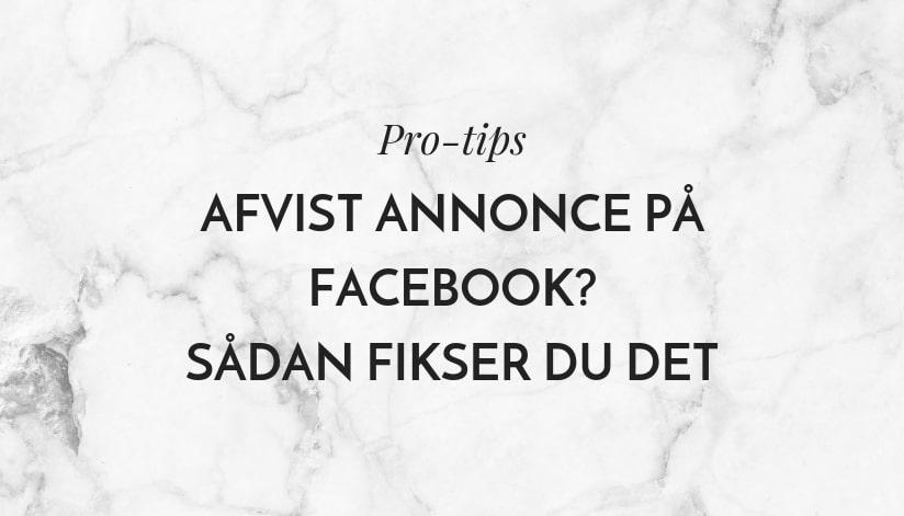 Afvist annonce på Facebook