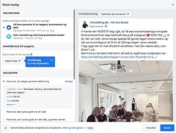 Det er supernemt at lave en annonce på Facebook ved hjælp af boost